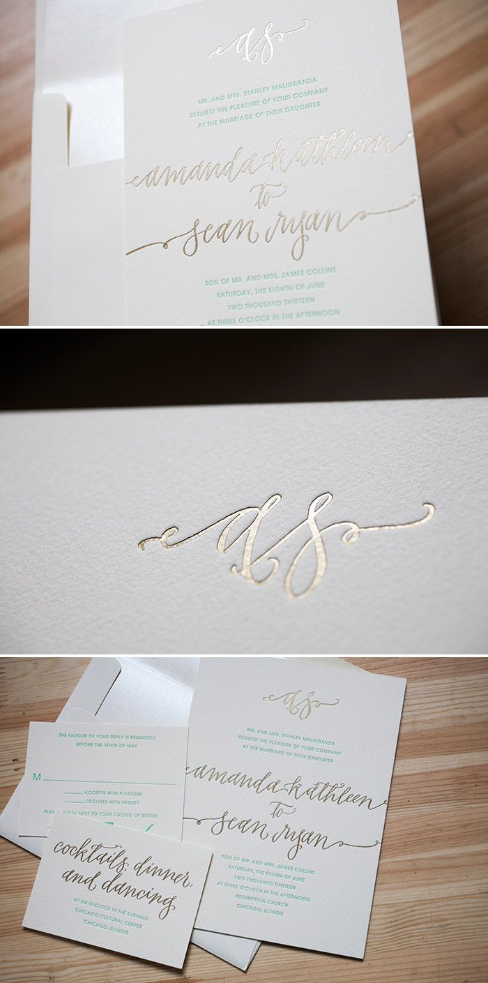 Formal And Modern Madison Chic Wedding Invitations In Gold Foil By