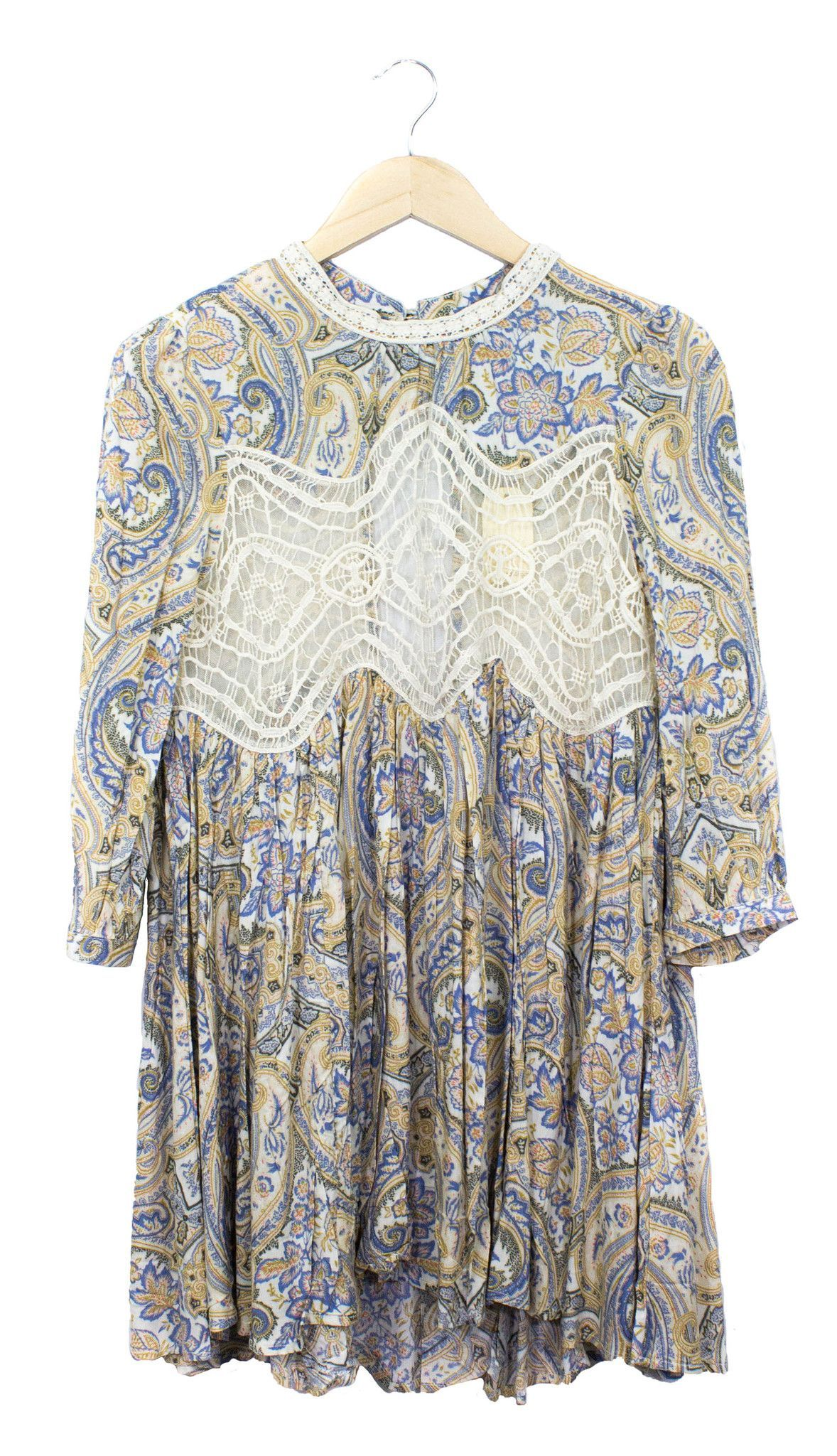 Boho tunic top blouses and dress 4009 trendy boho vintage gypsy - Jodifl Paisley Blue And Cream Lace Tunic