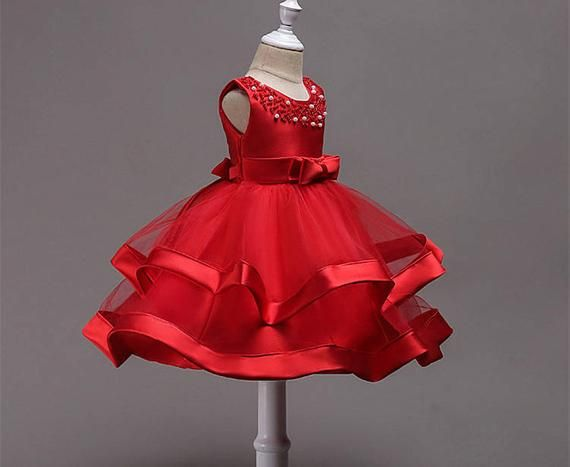 Red Pageant Socks Organza Ruffles Bows Baby Toddler Flower Girl Princess Party