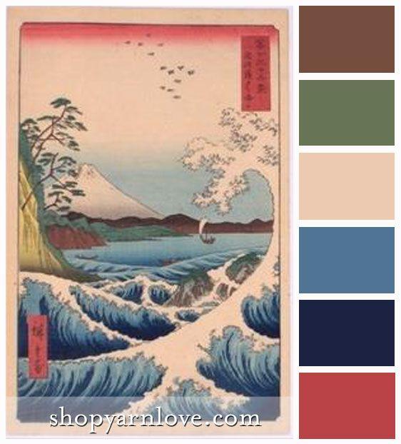 Japanese Waves Color Palette Yarn Love Color Palettes In 2019