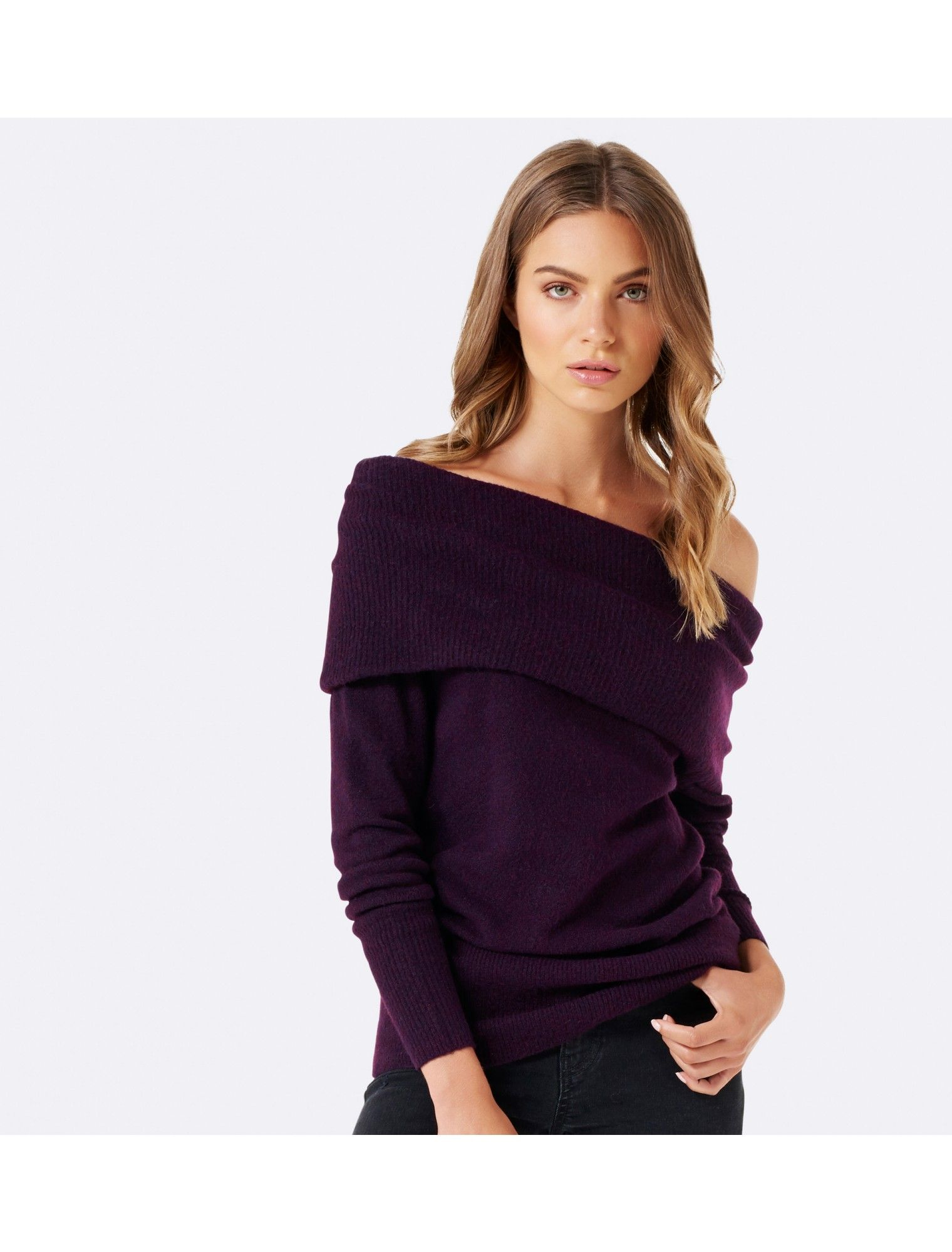 b0e7ac6b0768e Embrace soft textures and wrap up in in style with our Carla Deep Bardot  Jumper