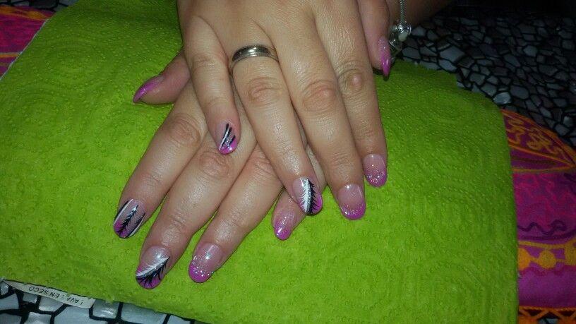 Uñas francesa rosa purpurina. Pluma. Nails | Uñas. Nails | Pinterest ...