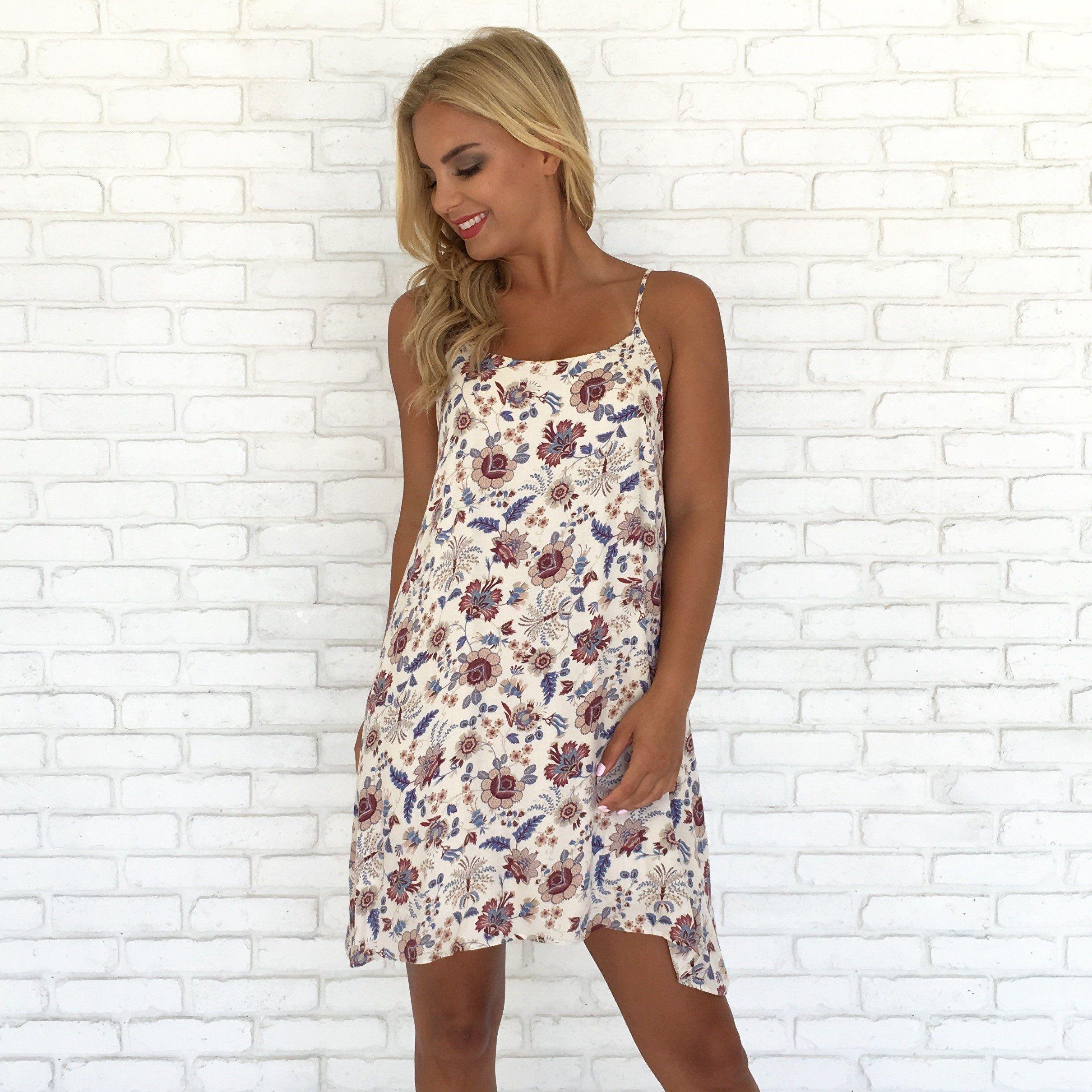 f0c2126f3f Amber Leaves Floral Shift Dress - Dainty Hooligan Boutique