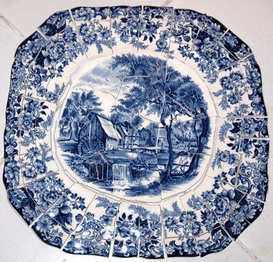 Mill Stream Hc Focal Set Mosaic China Plate Tiles Shards Blue Toile Chintz Plate Mosaic Glass Glass Mosaic Tiles Glass Crafts