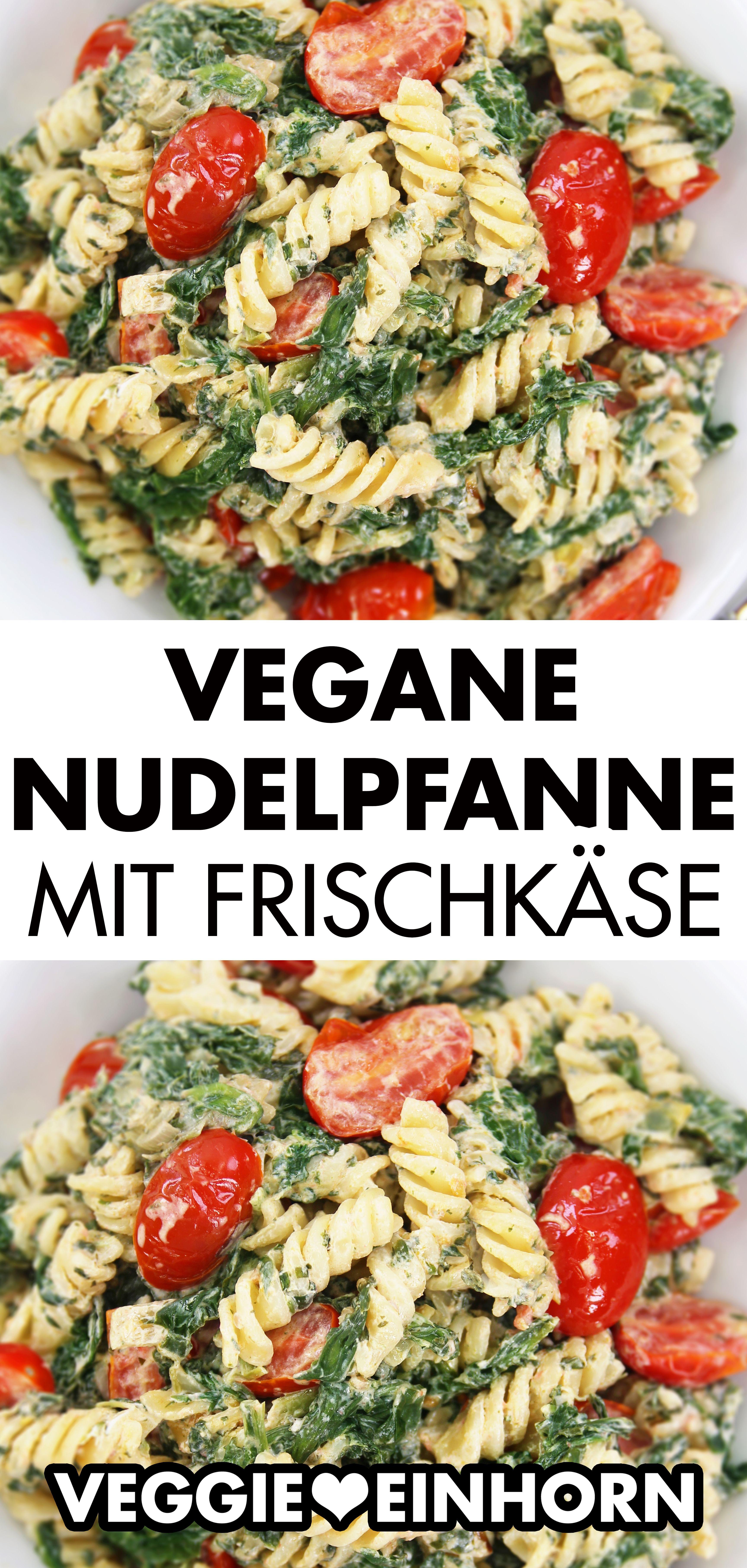 Vegane Nudelpfanne mit Frischkäse, Spinat und Cherrytomaten