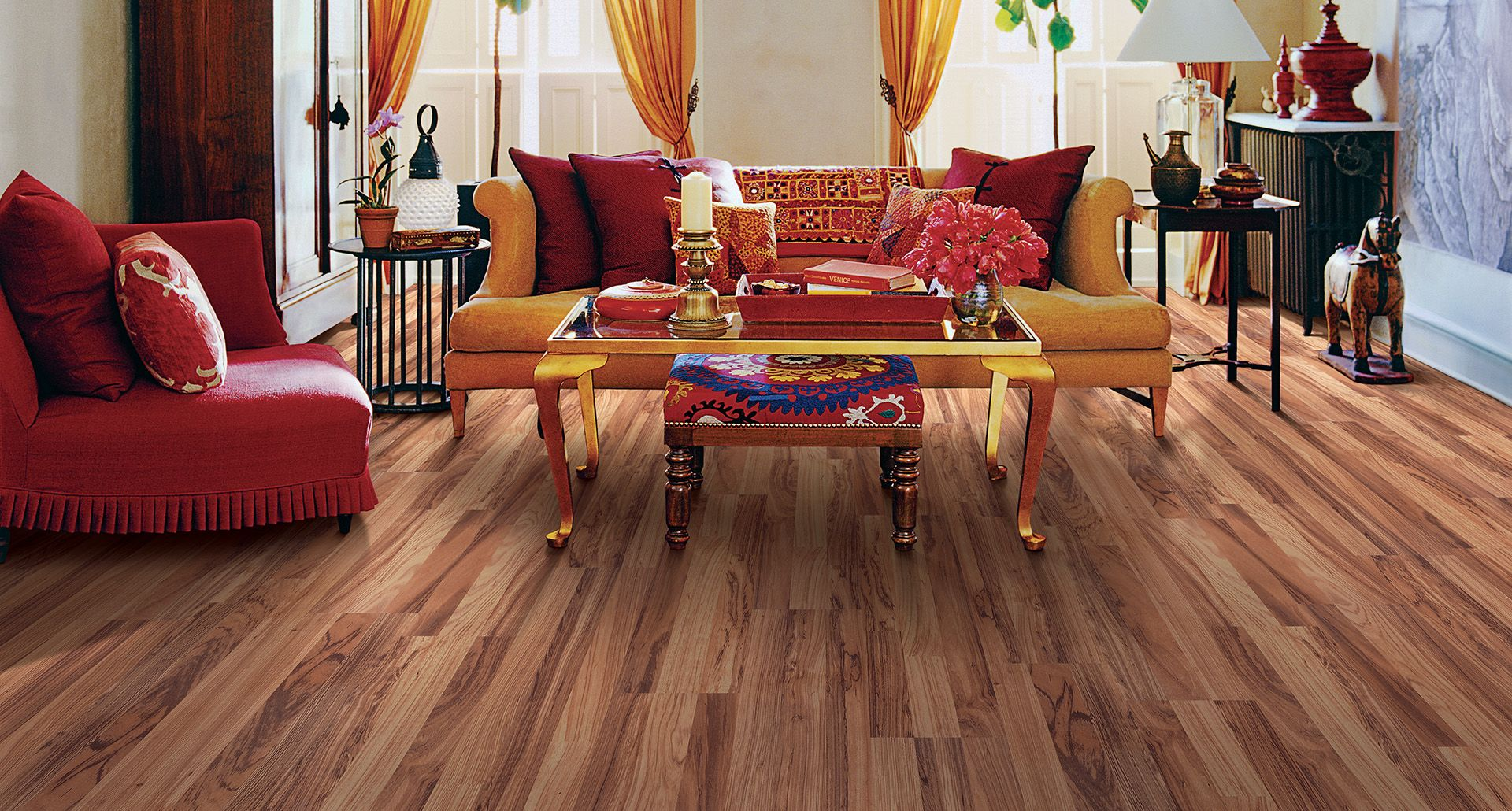 Australian Eucalyptus Smooth Laminate Floor Medium Wood Finish 8mm 3 Strip Plank Flooring Easy To Install And Covered By Pergo S