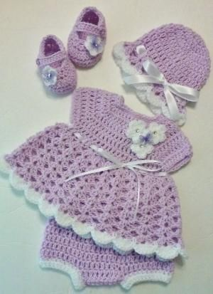 9b841e21a Crochet Lilac Pompadour and White Baby Girl Dress Set with Bloomers ...