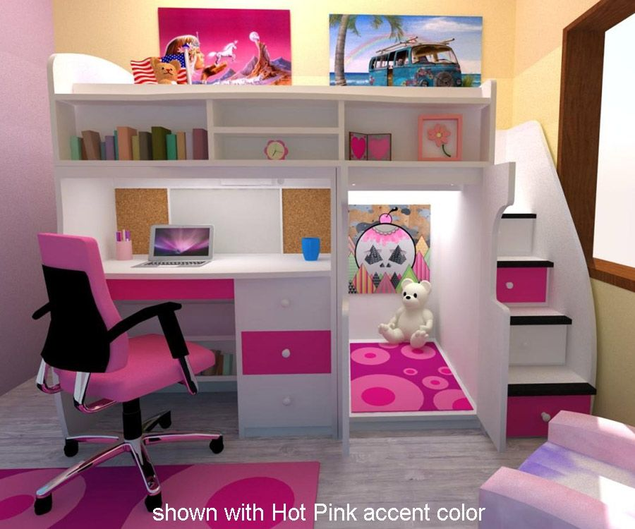 Twin Loft With Central Play Area And Desk Bedroom Furniture Beds Berg Furniture At Kids Furniture Wareho Cute Bedroom Ideas Girl Room Girl Bedroom Designs