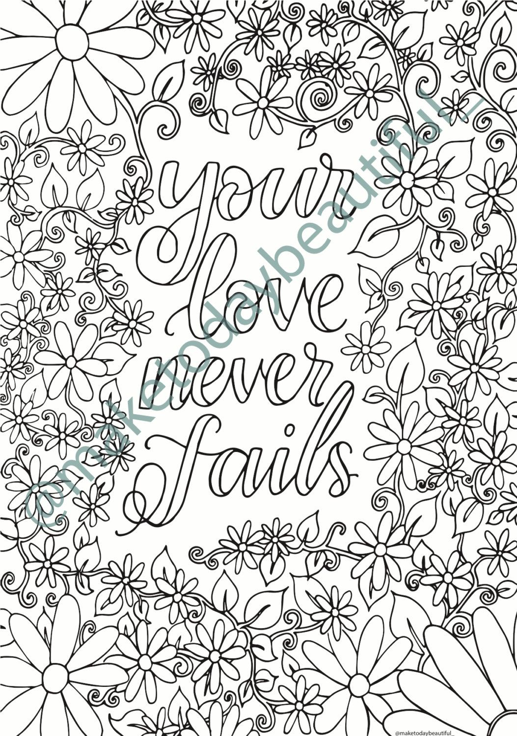 colouring page your love never fails christian colouring