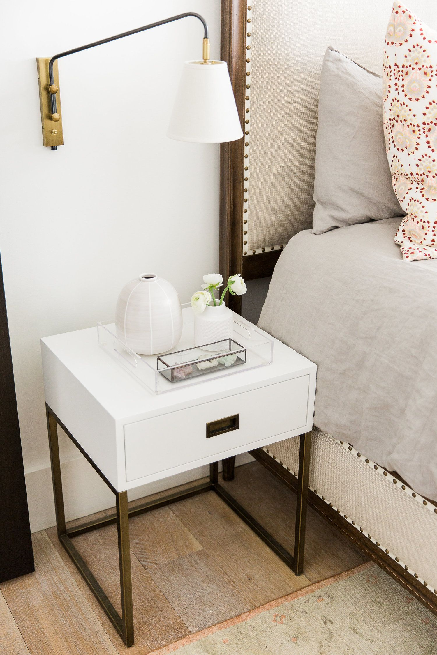 Sconce And Bedside Details Studio Mcgee Modern Bedside Table Sconces Bedroom Modern Mountain Home