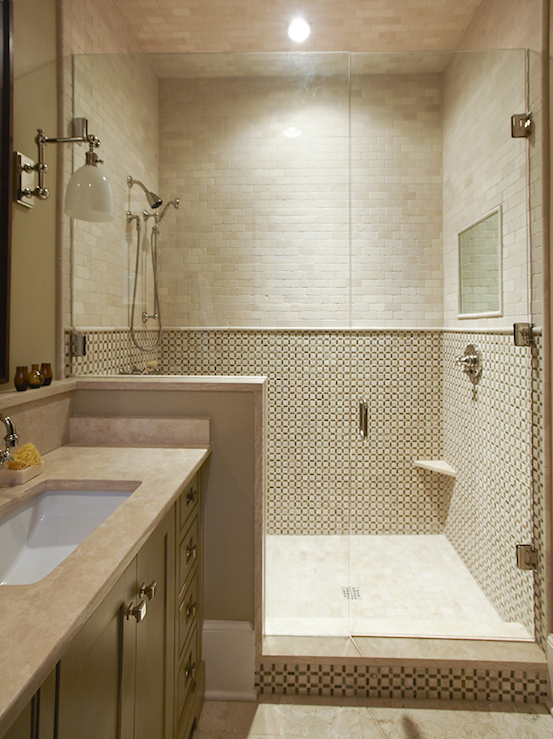 Source urban grace interiors gorgeous small bathroom for Tumbled marble bathroom designs