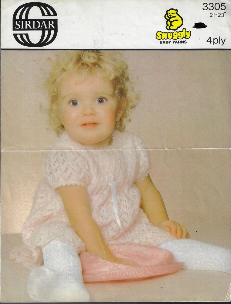 Baby Toddler Lacy Dress Sirdar 3305 Vintage Knitting Pattern 4 Ply