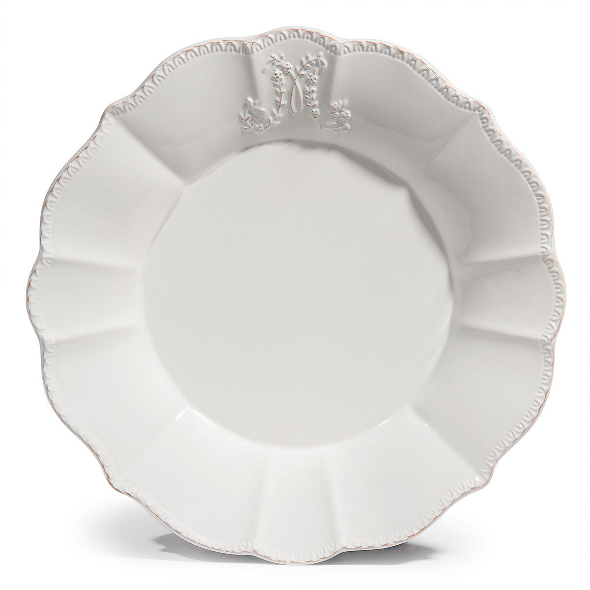 Assiette Plate Bourgeoisie Blanche Maisons Du Monde