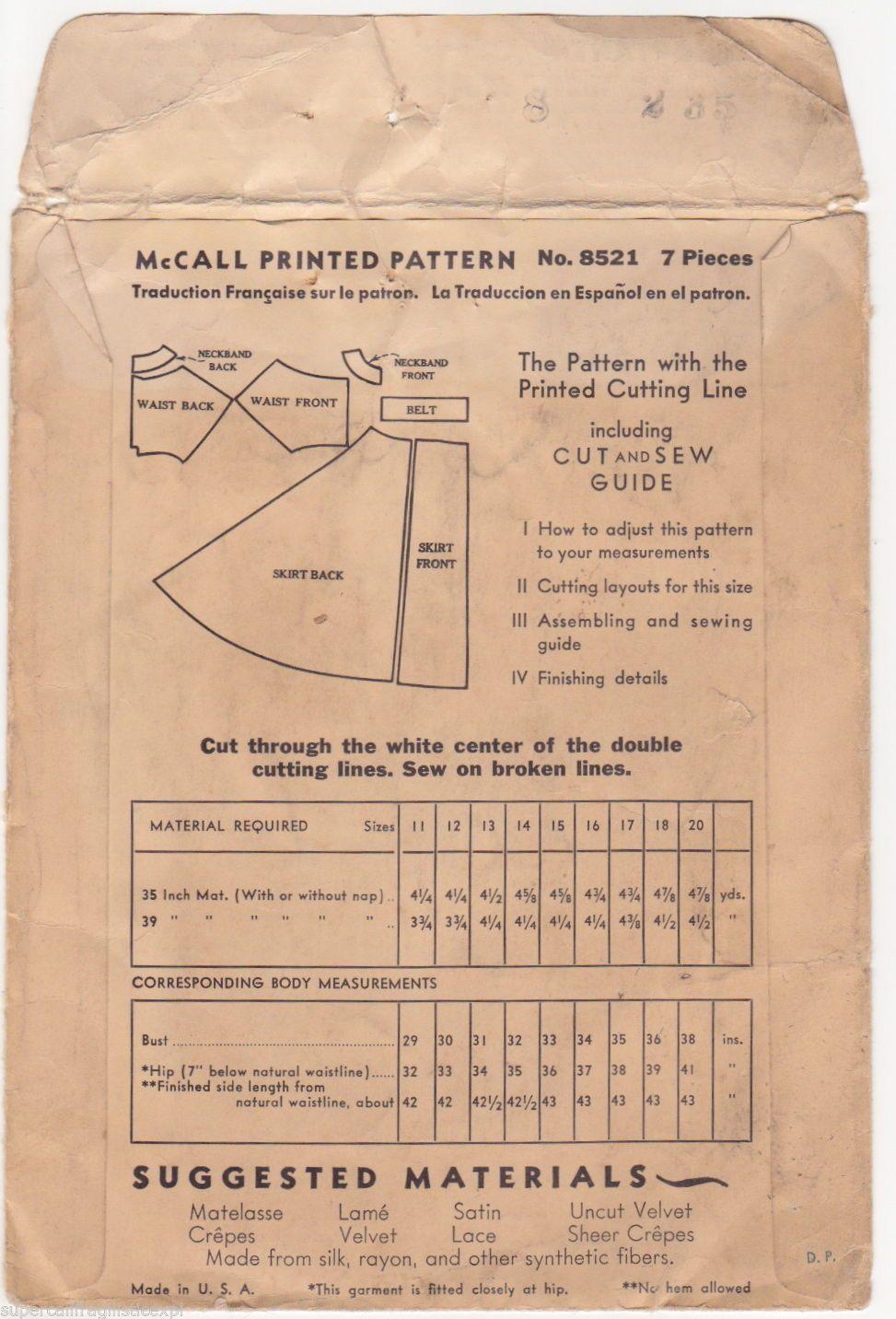 Vintage 8521 McCall McCalls Pattern Formal Evening Red Carpet Dress ...