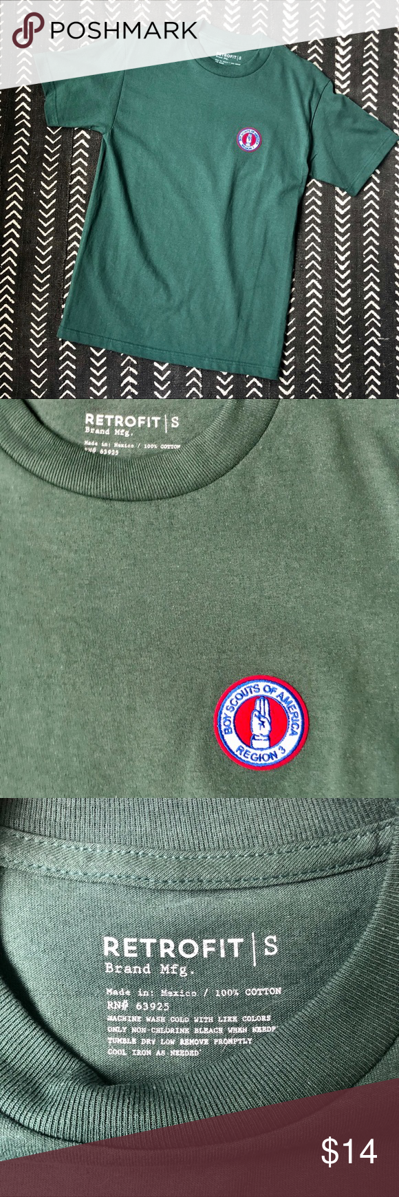 """Retrofit Boy Scout Patch Crew Neck Tee Mens Forest Green Tee. An embroidered Boy Scout graphic patches the chest of this classic crew neck t-shirt. Crew neck, Short sleeves, Slips on over head. Knit construction, Embroidered chest patch. NWOT.  100% cotton.  Width: 17.5"""" Length: 27"""" Sleeve Length: 7""""  #0289 Retrofit Shirts Tees - Short Sleeve"""