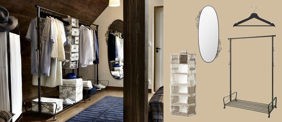 Musta teräksinen PORTIS-vaateteline, soikea EKNE-peili ja kokoontaitettava sermi