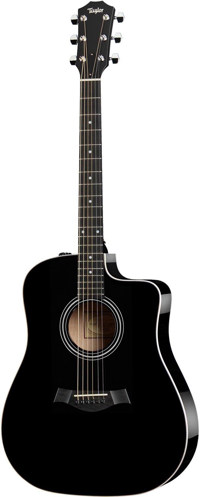 Taylor 210ce Black Cutaway Electro Acoustic Guitar Electro Acoustic Guitar Guitar Music Guitar