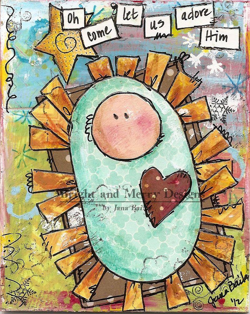 Raining GraceChristmas cards Mixed Media Baby Jesus