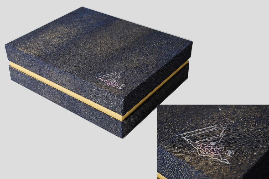 Special skin material: Velvet box with gold thread.   The only printed part is the logo on the bottom right corner.