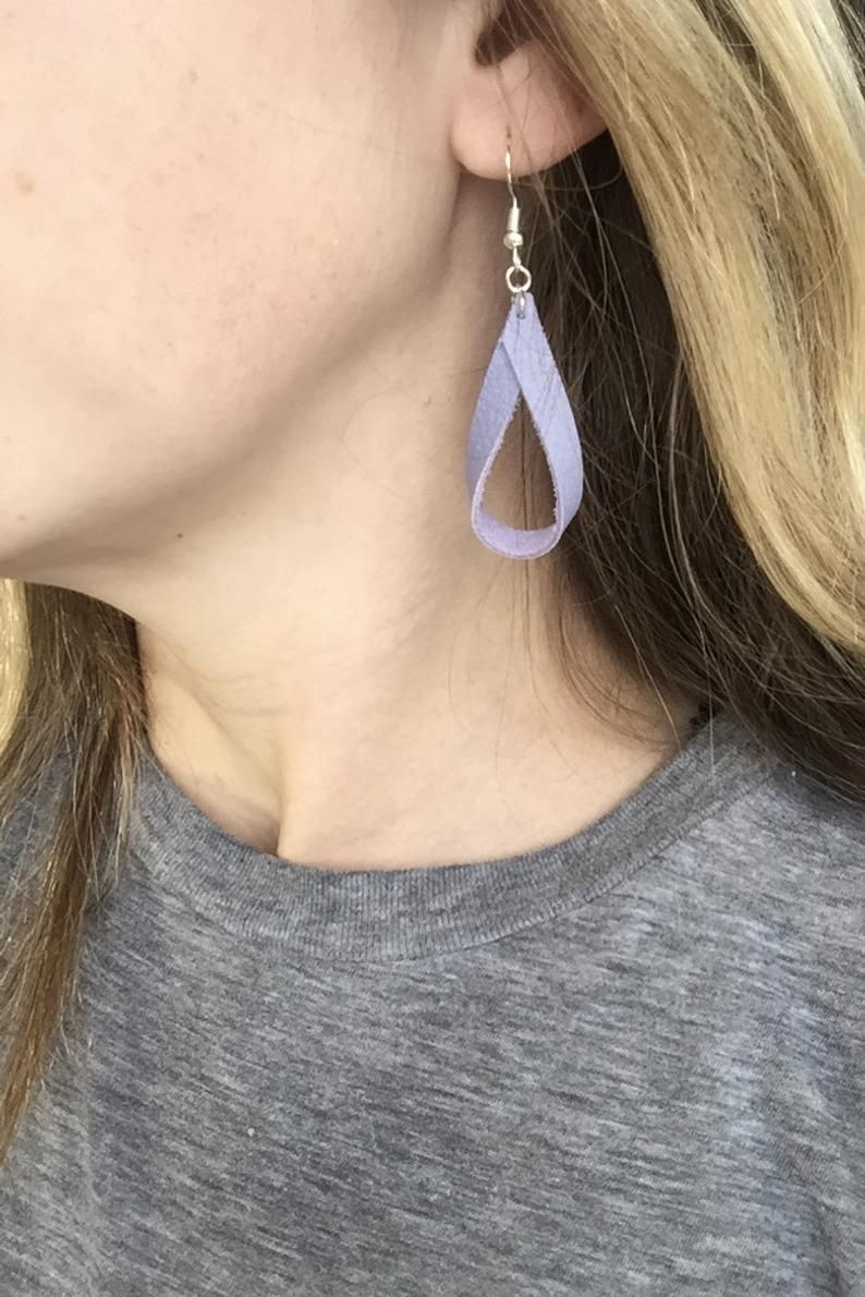 Lilac Drop Leather Earring