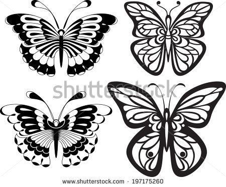 Symmetrical silhouettes butterflies with open wings