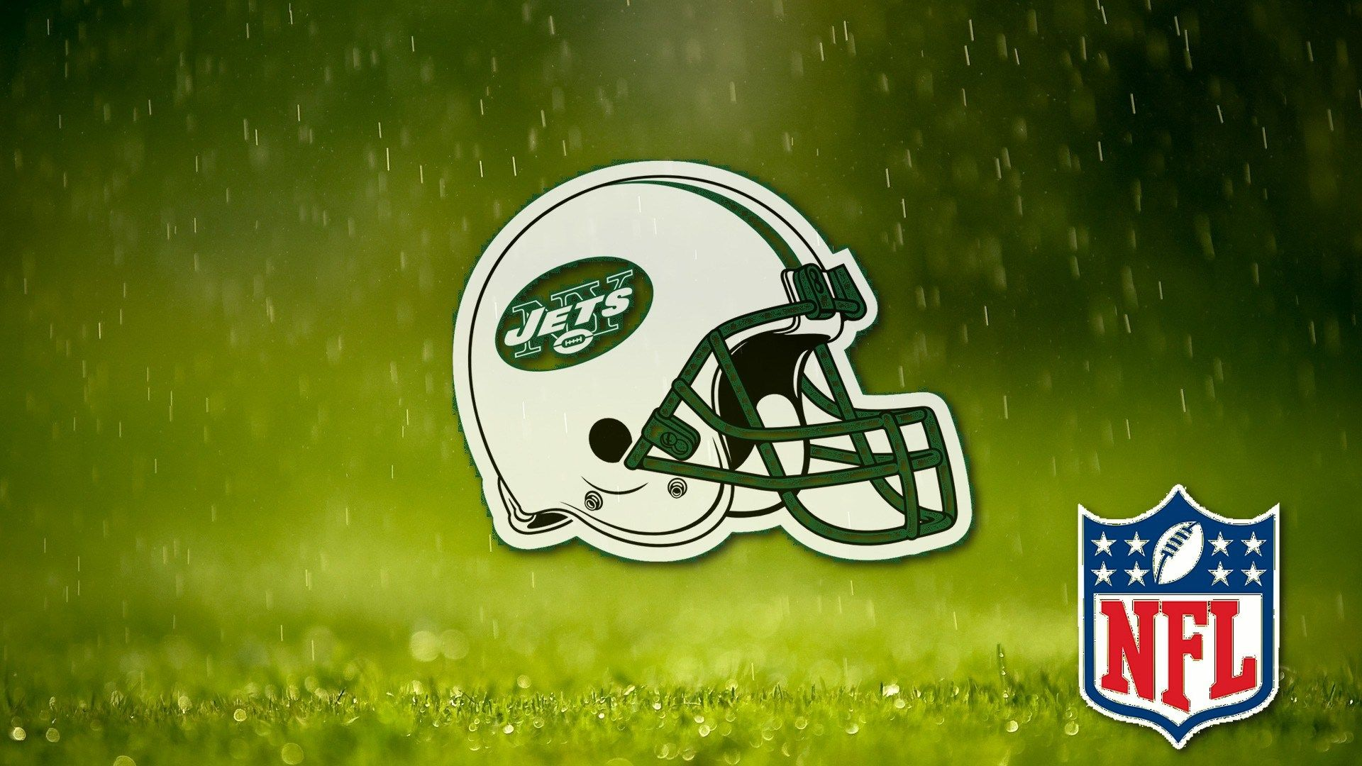 Nfl Ny Jets Helmet On Field Grass Wallpapers 1920x1080