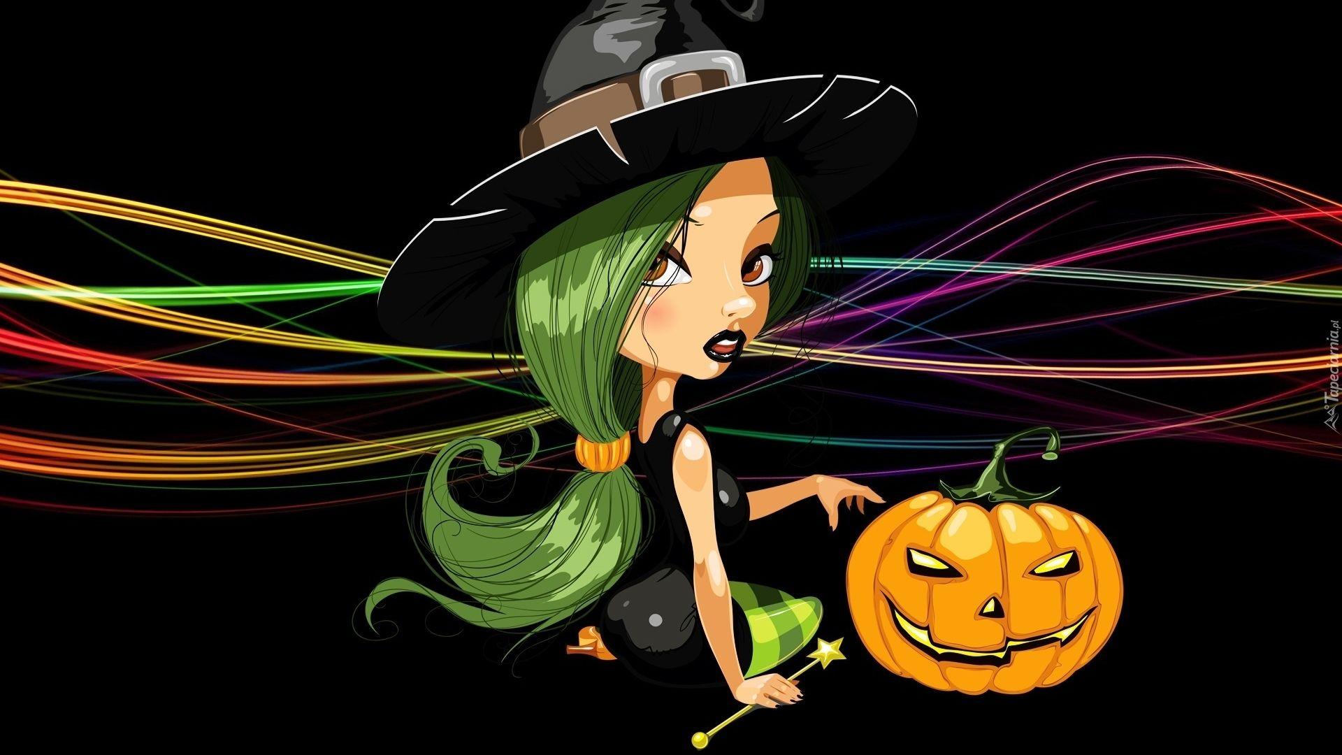 Grafika 2D, Czarownica, Dynia, Halloween, Czarne tło