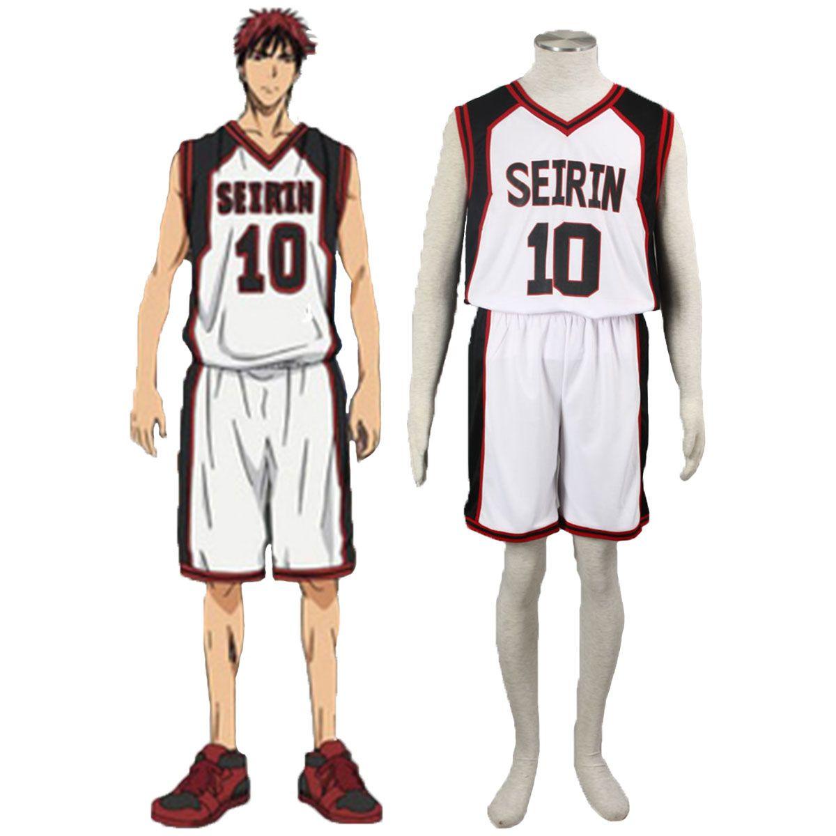 Deluxe Kuroko no Basket Kagami Taiga1ST Seirin White No.10 Cosplay Costumes
