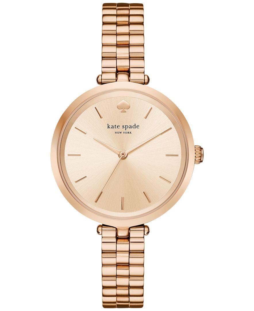 8f3494e49da kate spade new york Women s Holland Rose Gold-Tone Stainless Steel Bracelet  Watch 34mm KSW1134