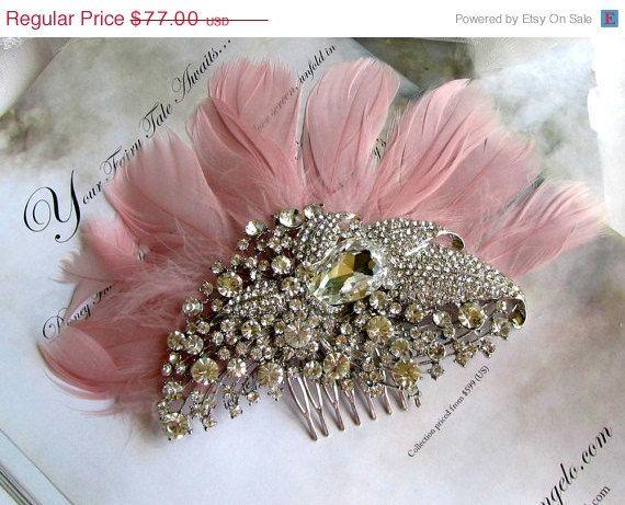 Wedding hair accessory bridal headpiecePink blush by GlamDuchess, $61.60