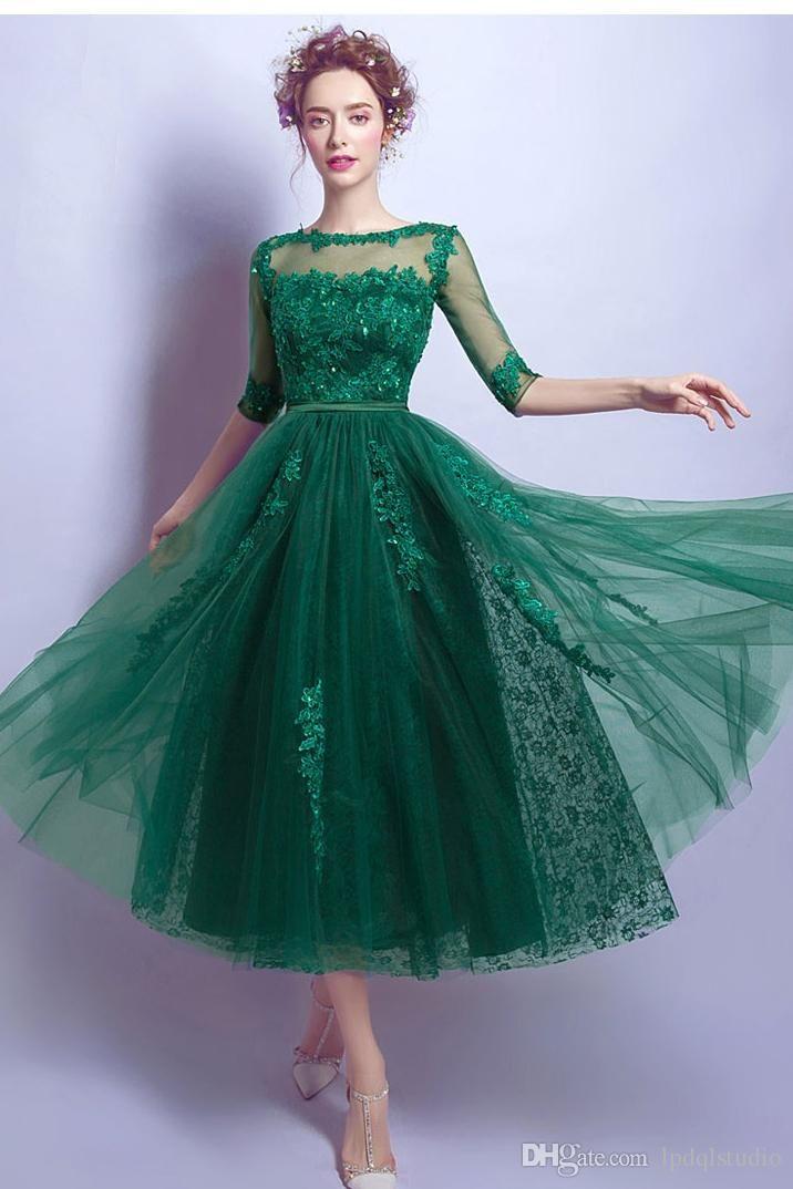Dark Green Prom Dress Tea Length Tulle Lace Prom Dresses