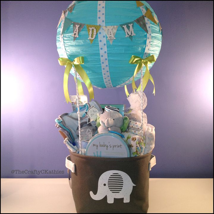Hot air balloon shower elephant themed gift basket babygift hot air balloon shower elephant themed gift basket babygift babyshower negle Images