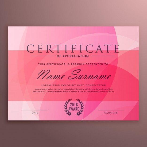 modern pink certificate design free vector certificate. Black Bedroom Furniture Sets. Home Design Ideas