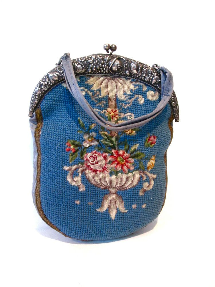 ANTIQUE 800 SILVER PURSE,HAND MADE DECORATED WITH BLUE FABRIC.