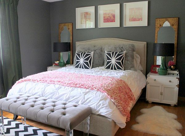 Dark Grey Wall Color Scheme And Pink White Bedding Sets In Eclectic Bedroom  Design Ideas.