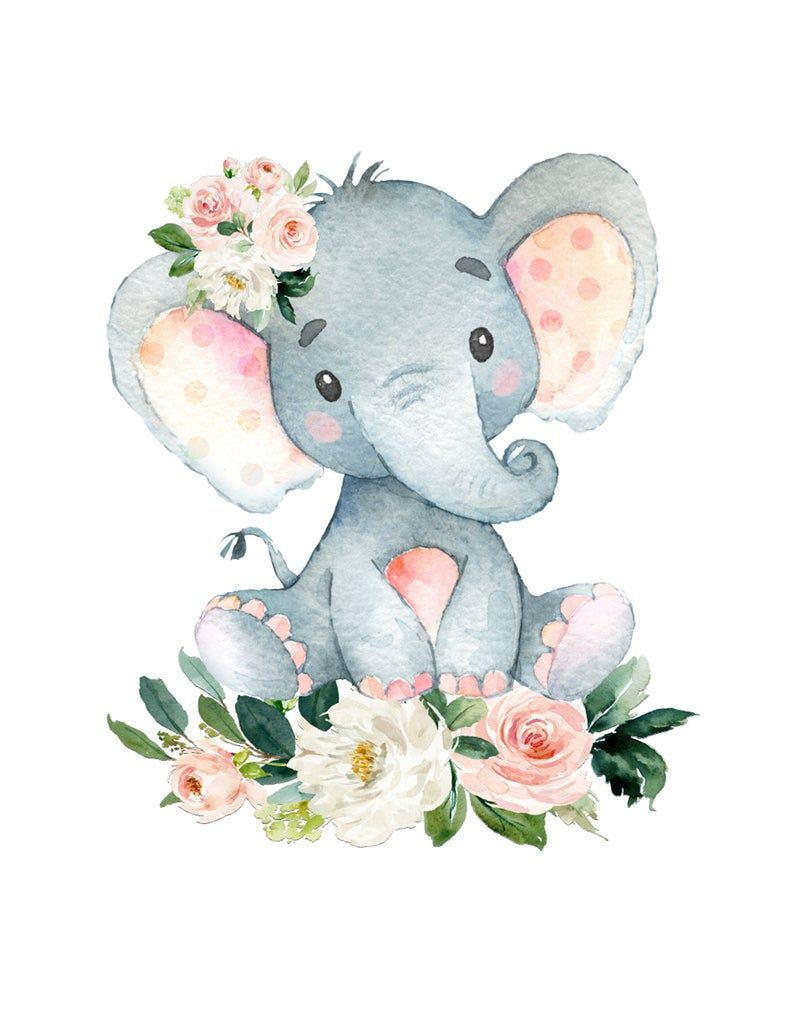 Blush Rosa Floral Elefante Elefante Arte De La Pared Bebe Etsy Baby Showers De Animales Dibujo Animales Infantiles Dibujos De Animales Tiernos