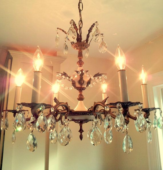 Antique Crystal Chandelier Large 6 Arm Made in Spain Solid Brass Crystal  Prisms Unique Rare - Antique Crystal Chandelier Large 6 Arm Made In Spain Solid Brass