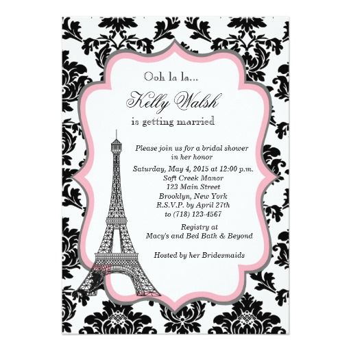 Eiffel tower pink paris bridal shower invitation paris themed eiffel tower pink paris bridal shower invitation filmwisefo