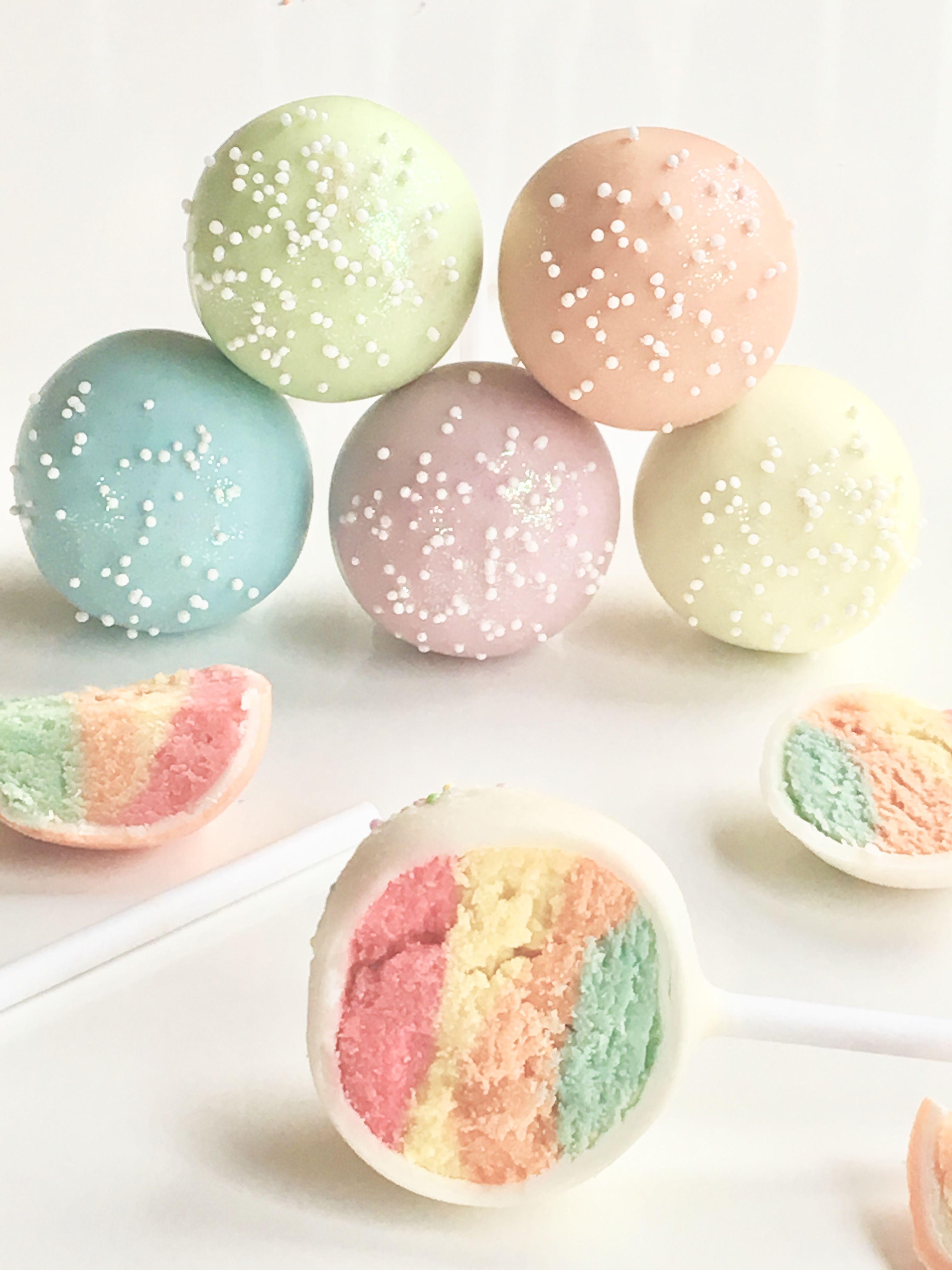 Delicious vanilla rainbow cake pops cakepops rainbowcake