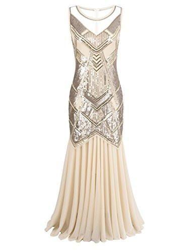 Women\'s 1920s Beaded Sequin Geometric Pattern Maxi Long Gatsby ...