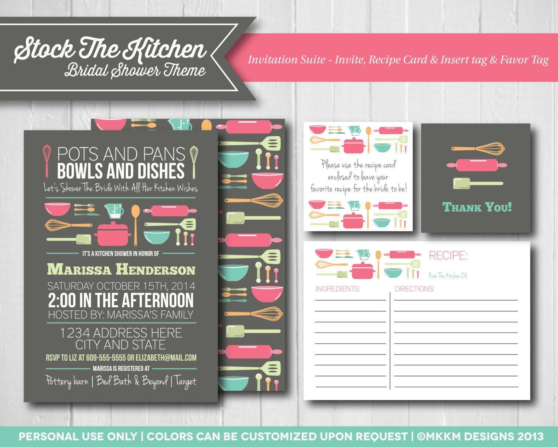 Stock The Kitchen Invitation Set Bridal Shower Invite Recipe Card