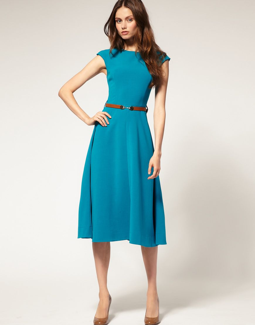 ASOS Midi Dress With Contrast Belt - perfect with a blazer or ...