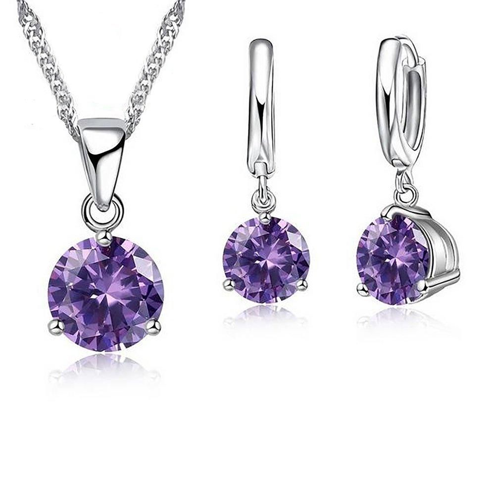 Women S Necklace And Stud Earrings Set Crystal 925 Stearling Silver Cubic Zircon Jewerly Crystal Jewelry Sets Silver Jewelry Gifts Sterling Silver Pendants