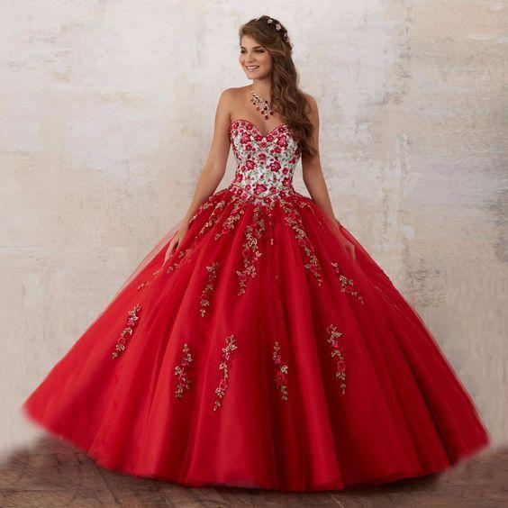 Vestidos De Xv Años Color Rojo 15 Años Vestidos De