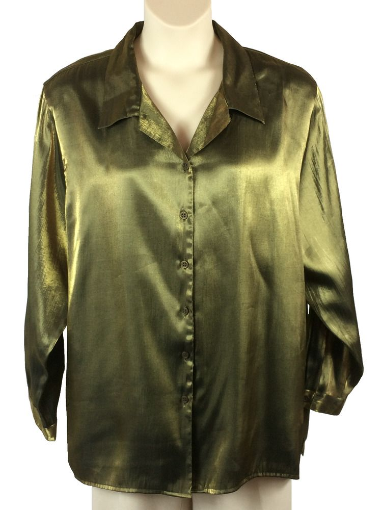 e4b0c396193 Womens Joanna Plus Button-Down Blouse Plus Size 24W Dark Gold Rayon Blend   Joanna  ButtonDownShirt  Any