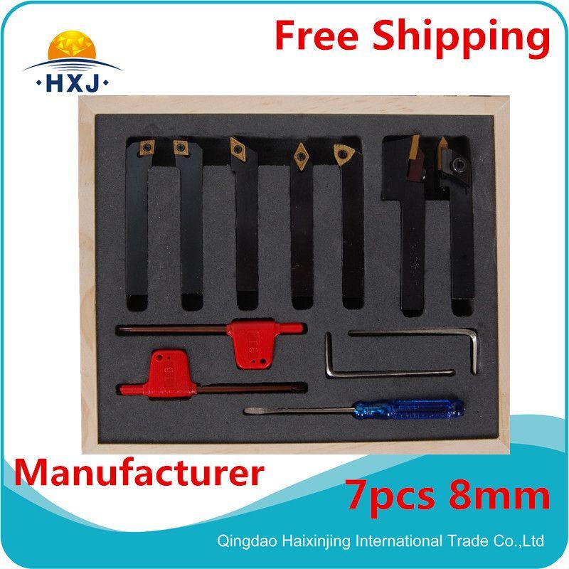8mm 7pcs//set indexable carbide turnnig tools lathe cutting tools set