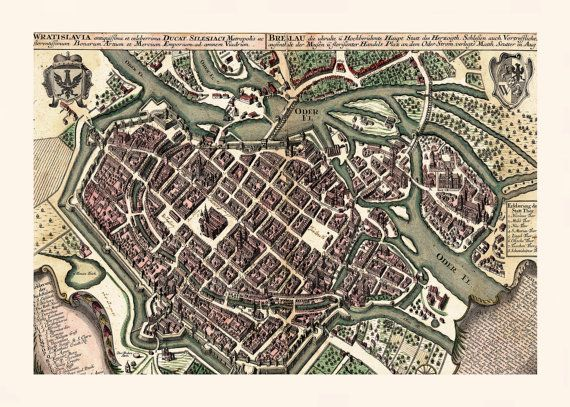 ANTIQUE WROCLAW MAP Map of Wroclaw Poland Historical Poland Map
