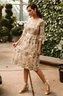 Sparsheen Champagne Colored Dress w/ Mustard Yellow and Sage Green Floral Design #Dress #Fashion #Woman #sagegreendress