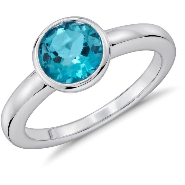 Blue Nile Blue Topaz Round Bezel-Set Ring ($89) ❤ liked on Polyvore featuring jewelry, rings, blue nile rings, blue nile, bezel ring, blue nile jewelry and bezel set ring