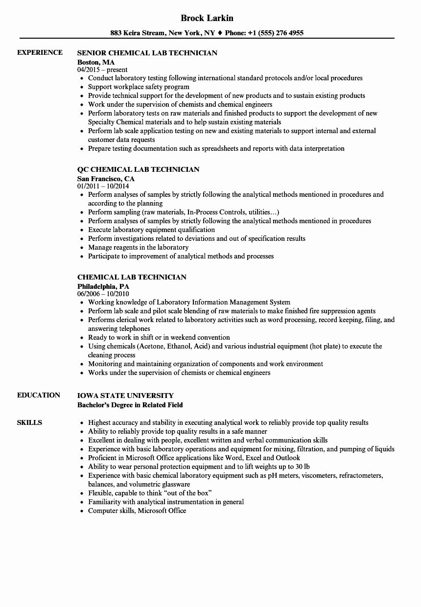 Resume for Laboratory Technician Elegant Chemical Lab